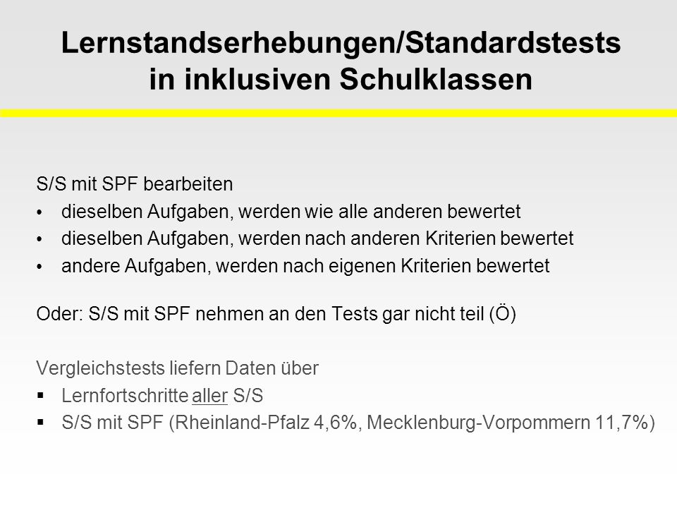 Lernstandserhebungen/Standardstests in inklusiven Schulklassen