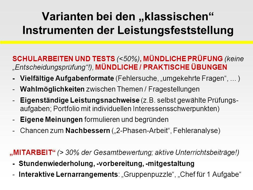 """Varianten bei den """"klassischen Instrumenten der Leistungsfeststellung"""