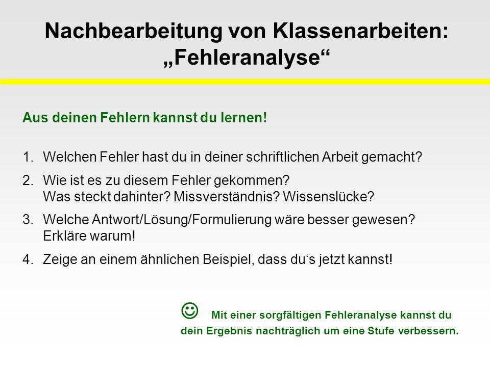 """Nachbearbeitung von Klassenarbeiten: """"Fehleranalyse"""