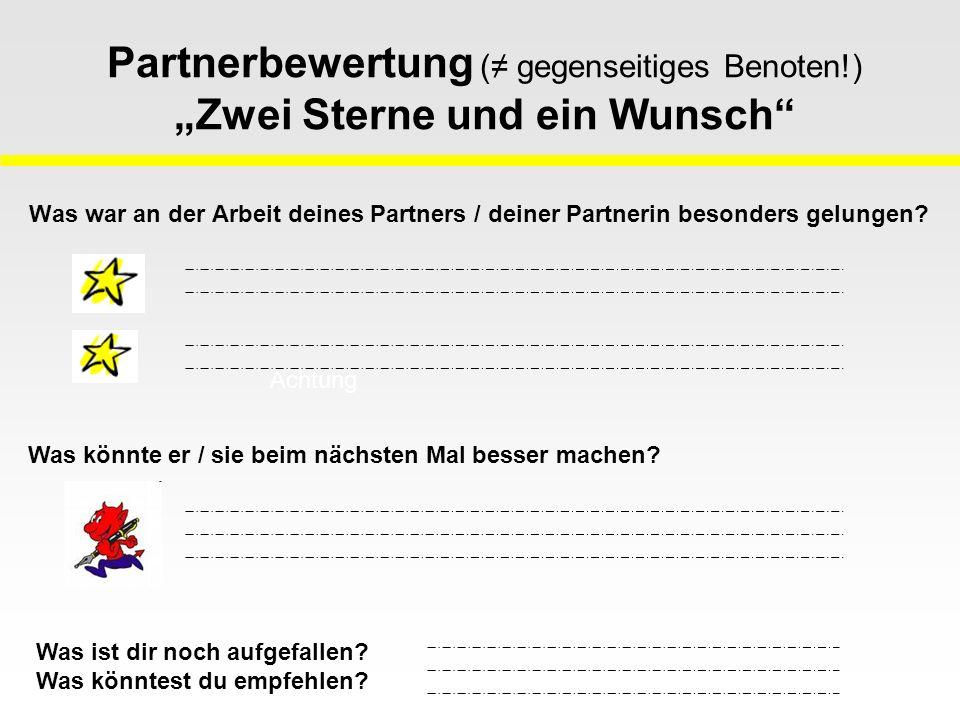 Partnerbewertung (≠ gegenseitiges Benoten