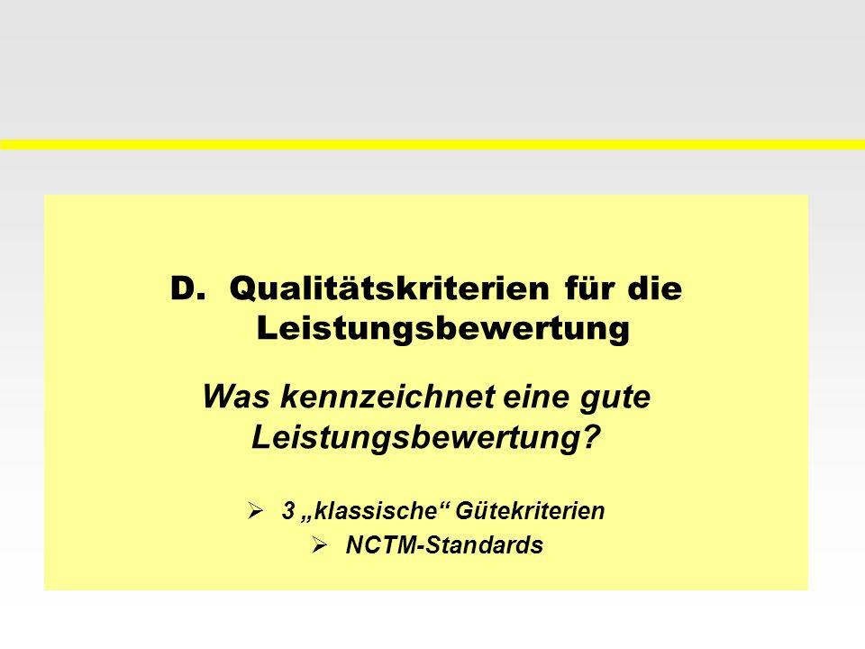 D. Qualitätskriterien für die Leistungsbewertung