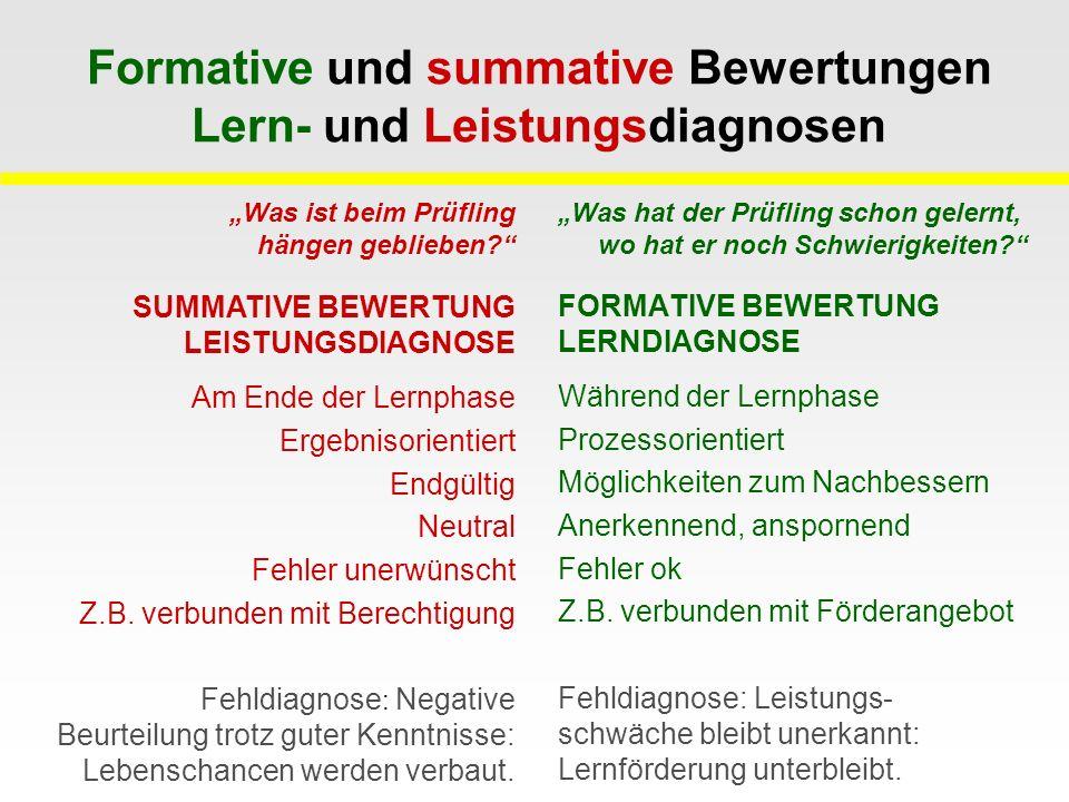 Formative und summative Bewertungen Lern- und Leistungsdiagnosen