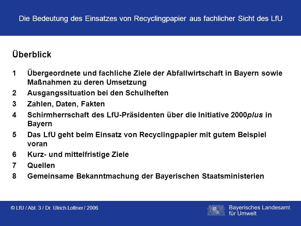 Die Bedeutung des Einsatzes von Recyclingpapier aus fachlicher Sicht des LfU