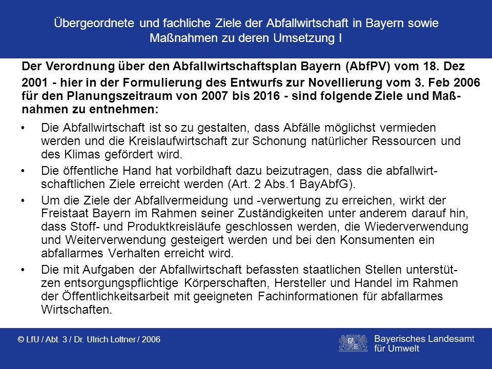 Übergeordnete und fachliche Ziele der Abfallwirtschaft in Bayern sowie Maßnahmen zu deren Umsetzung I
