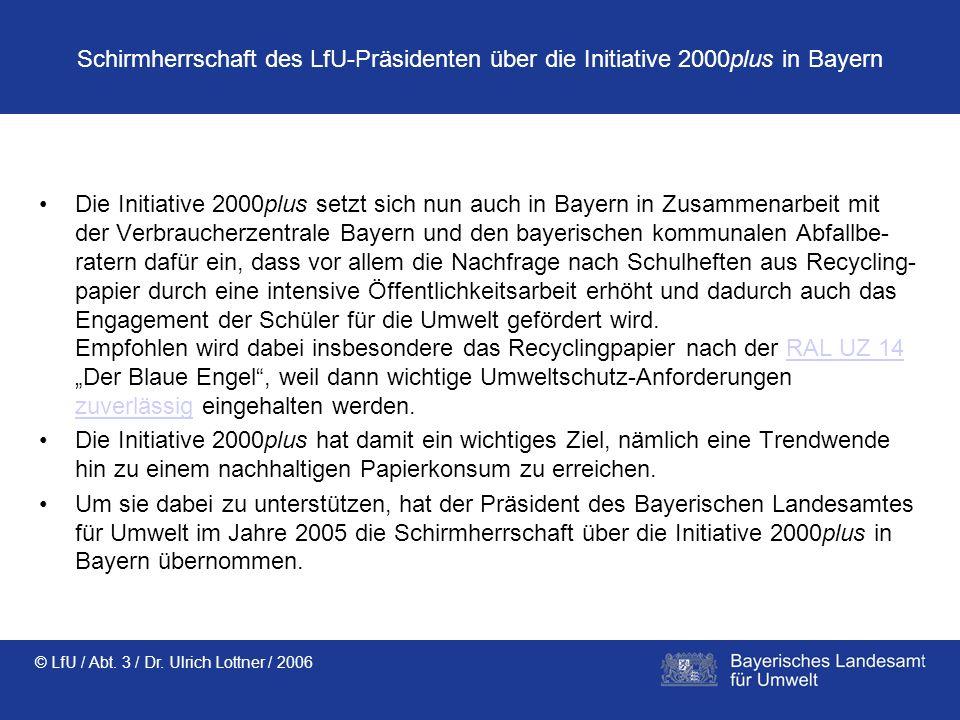 Schirmherrschaft des LfU-Präsidenten über die Initiative 2000plus in Bayern