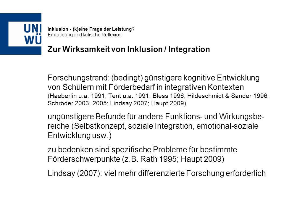 Zur Wirksamkeit von Inklusion / Integration