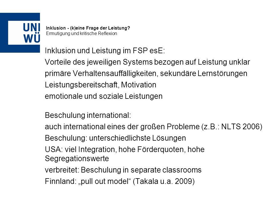 Inklusion und Leistung im FSP esE: