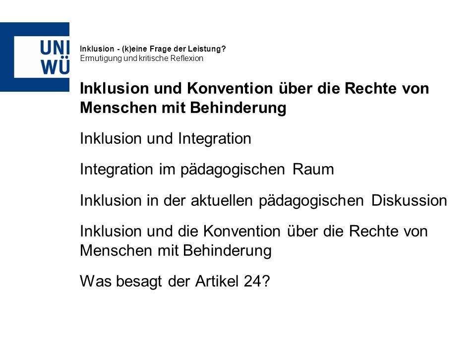 Inklusion und Konvention über die Rechte von Menschen mit Behinderung