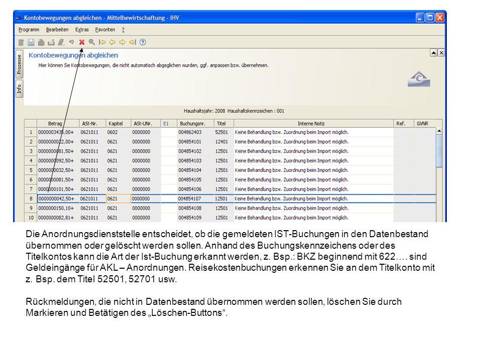 Die Anordnungsdienststelle entscheidet, ob die gemeldeten IST-Buchungen in den Datenbestand übernommen oder gelöscht werden sollen. Anhand des Buchungskennzeichens oder des Titelkontos kann die Art der Ist-Buchung erkannt werden, z. Bsp.: BKZ beginnend mit 622…. sind Geldeingänge für AKL – Anordnungen. Reisekostenbuchungen erkennen Sie an dem Titelkonto mit z. Bsp. dem Titel 52501, 52701 usw.