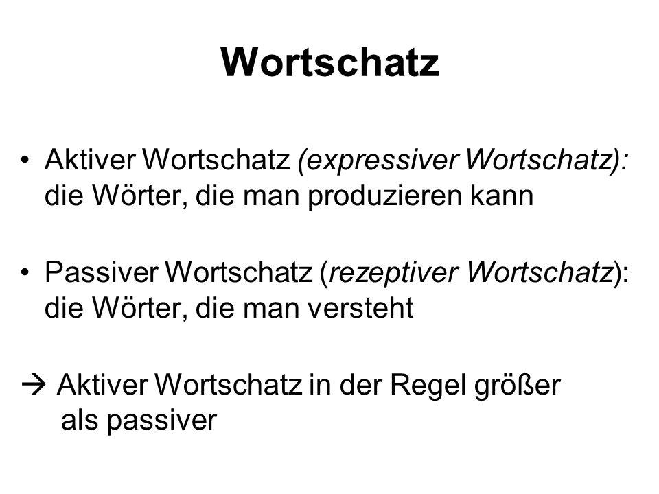 Wortschatz Aktiver Wortschatz (expressiver Wortschatz): die Wörter, die man produzieren kann.