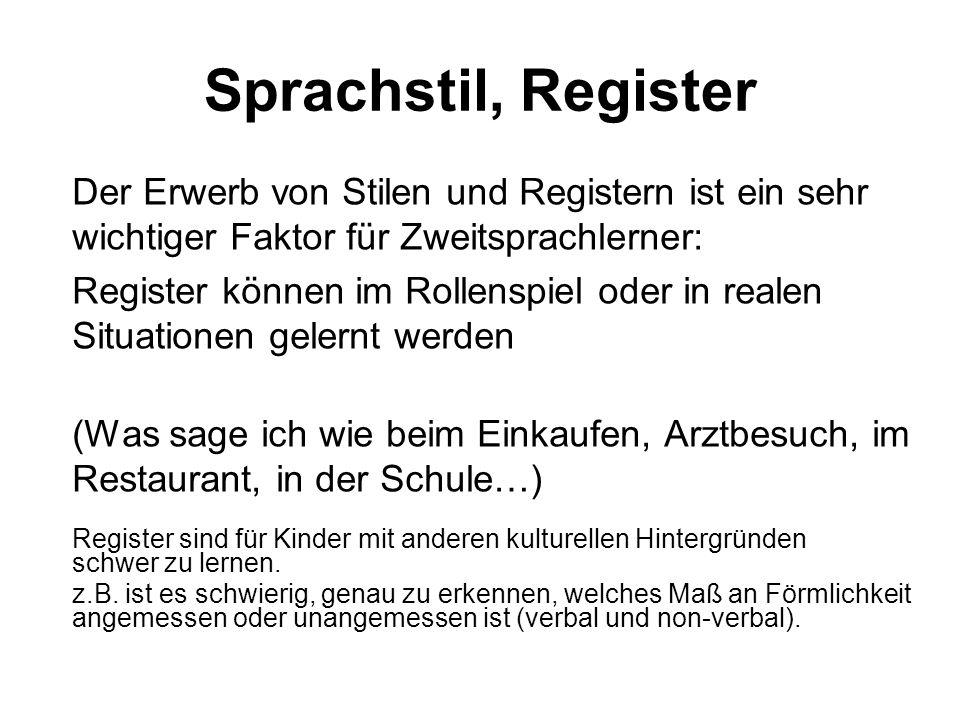 Sprachstil, Register Der Erwerb von Stilen und Registern ist ein sehr wichtiger Faktor für Zweitsprachlerner: