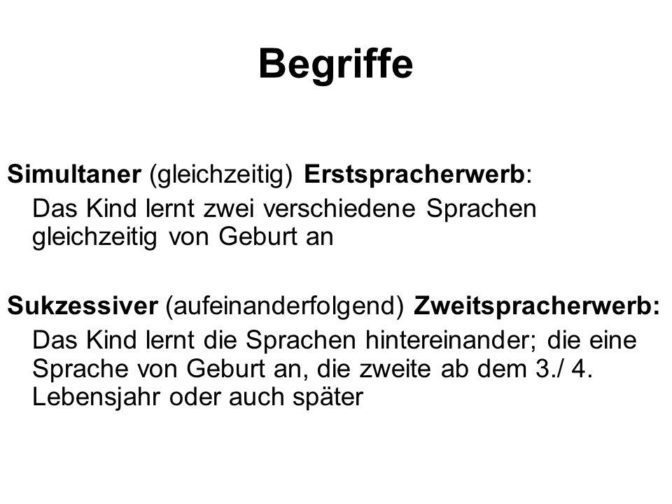 Begriffe Simultaner (gleichzeitig) Erstspracherwerb: