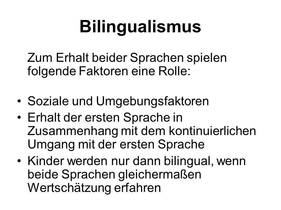 Bilingualismus Zum Erhalt beider Sprachen spielen folgende Faktoren eine Rolle: Soziale und Umgebungsfaktoren.