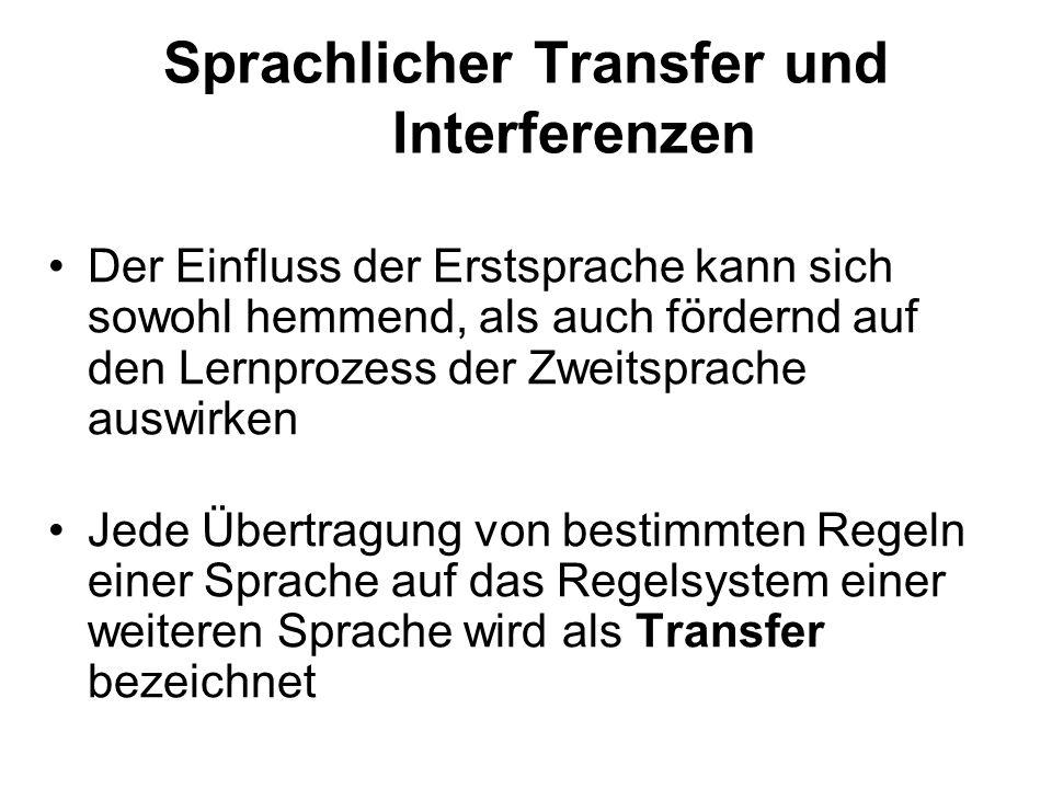 Sprachlicher Transfer und Interferenzen