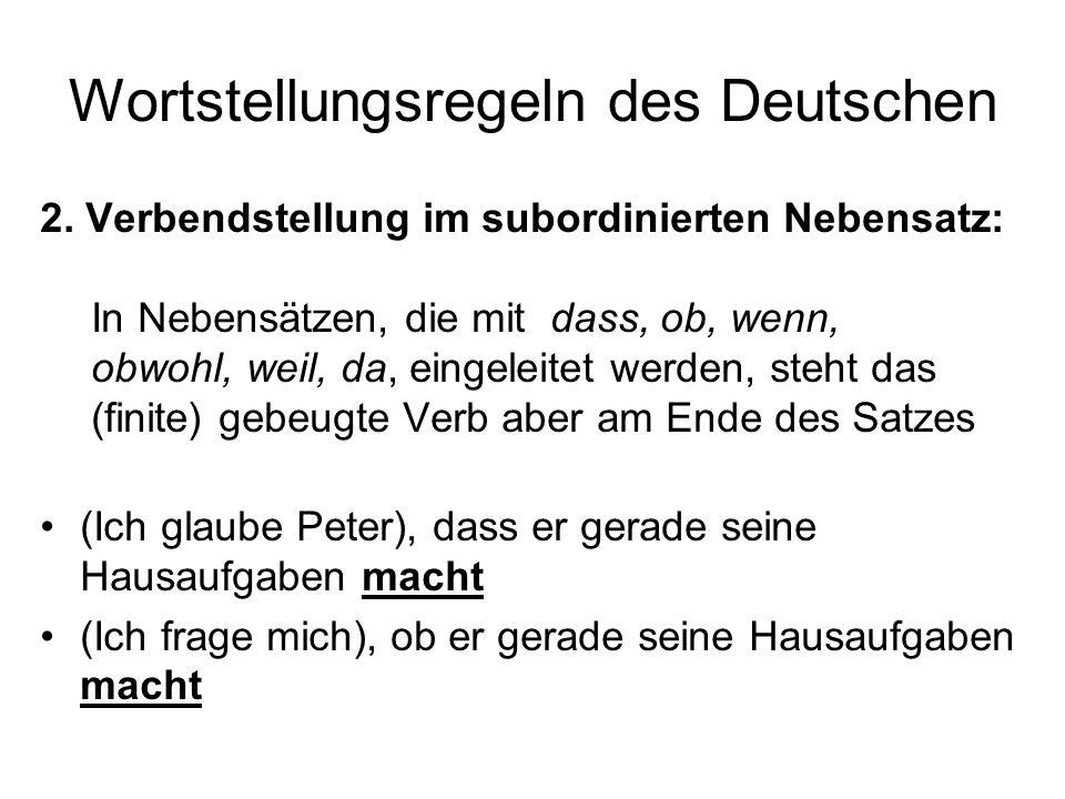 Wortstellungsregeln des Deutschen