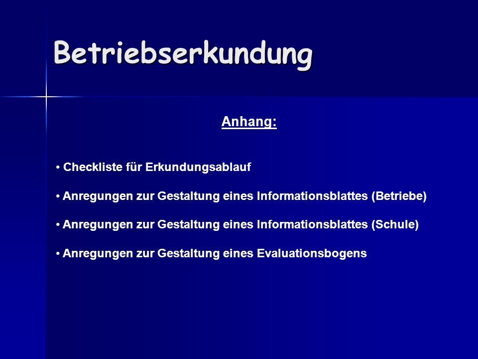 Betriebserkundung Anhang: Checkliste für Erkundungsablauf