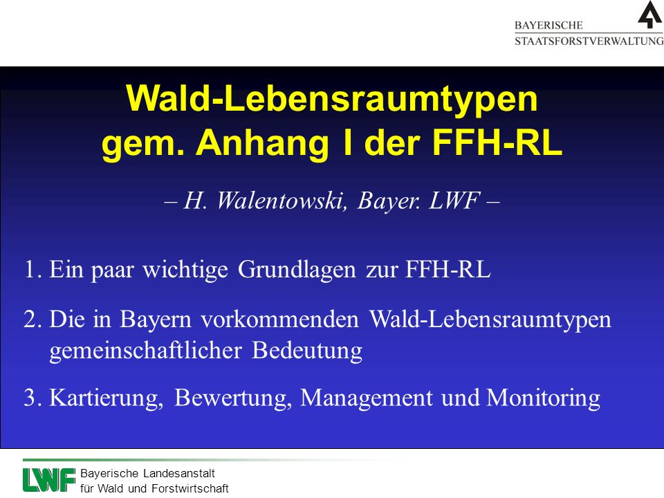 Wald-Lebensraumtypen gem. Anhang I der FFH-RL