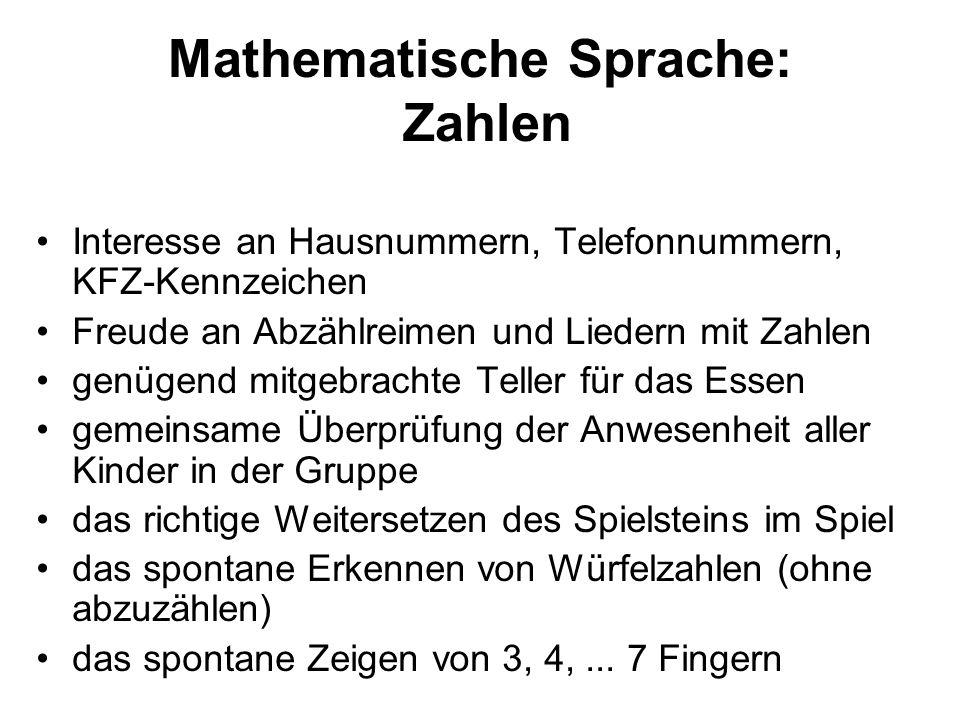 Mathematische Sprache: Zahlen