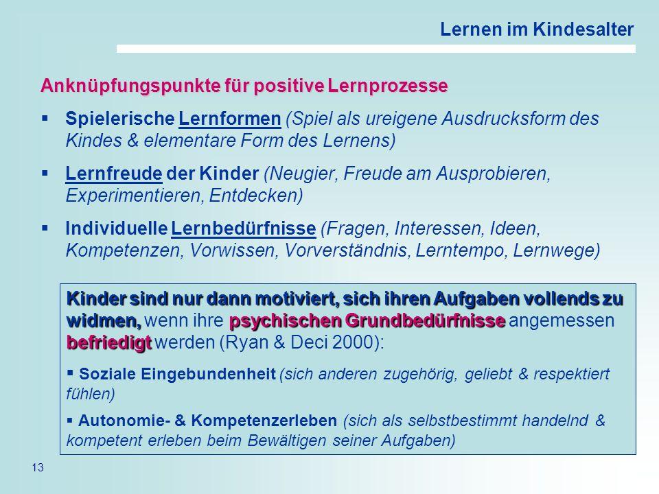 Anknüpfungspunkte für positive Lernprozesse
