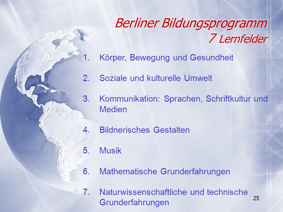 Berliner Bildungsprogramm 7 Lernfelder
