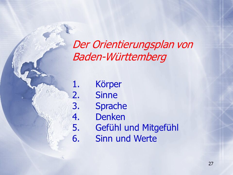 Der Orientierungsplan von Baden-Württemberg 1. Körper 2. Sinne 3