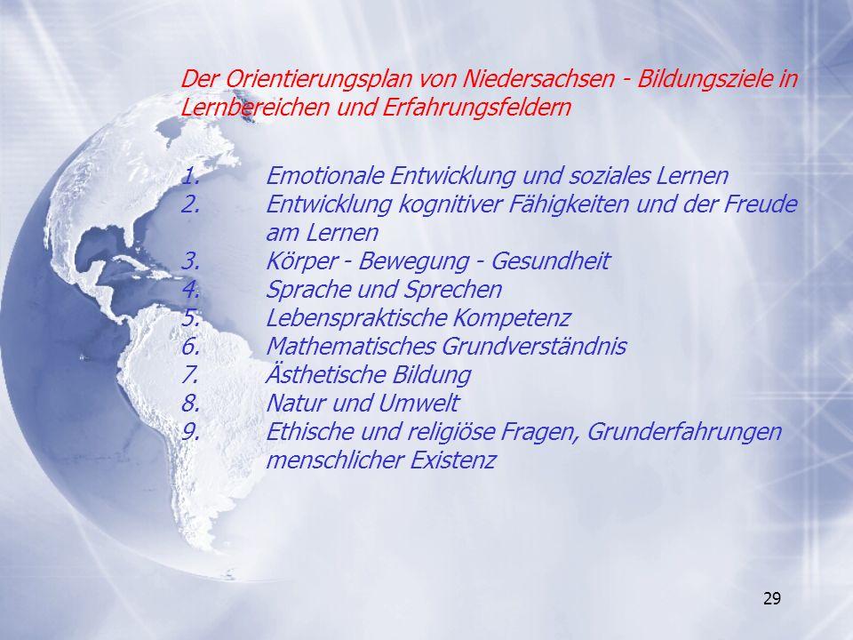 Der Orientierungsplan von Niedersachsen - Bildungsziele in Lernbereichen und Erfahrungsfeldern 1.