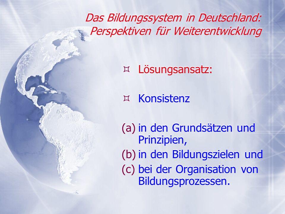 Das Bildungssystem in Deutschland: Perspektiven für Weiterentwicklung