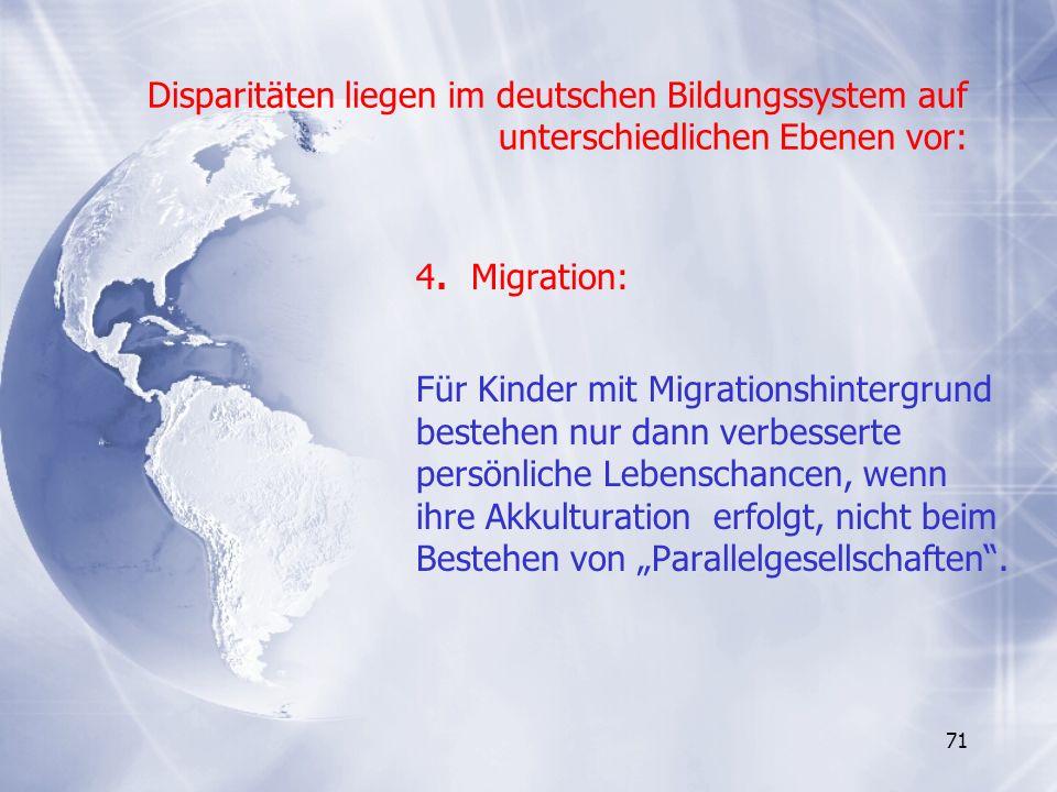 Disparitäten liegen im deutschen Bildungssystem auf unterschiedlichen Ebenen vor: