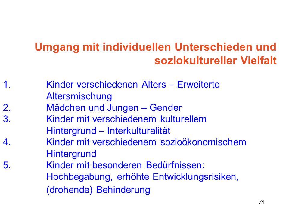 Umgang mit individuellen Unterschieden und soziokultureller Vielfalt