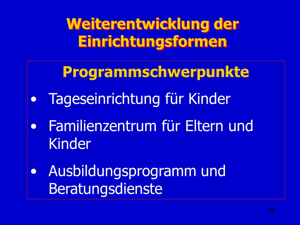 Weiterentwicklung der Einrichtungsformen Programmschwerpunkte