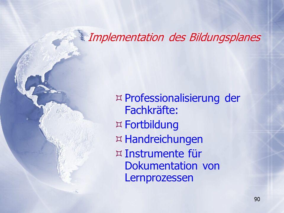 Implementation des Bildungsplanes