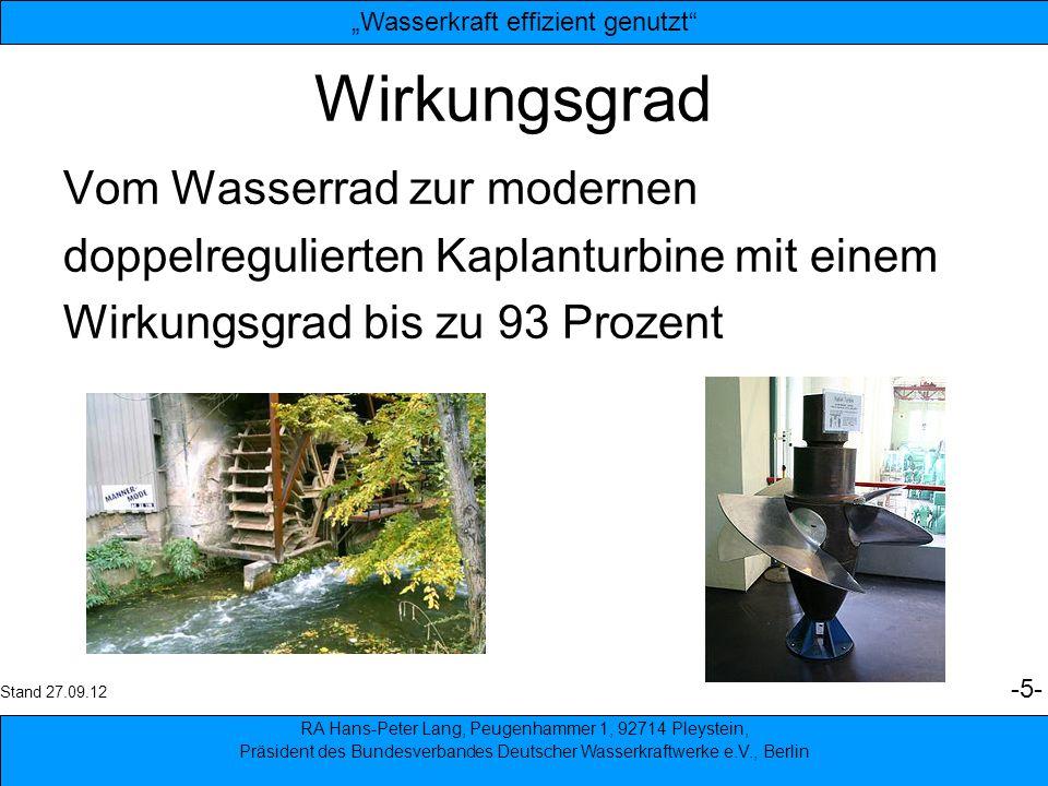 Wirkungsgrad Vom Wasserrad zur modernen