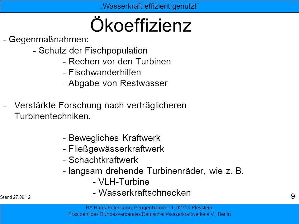 Ökoeffizienz - Gegenmaßnahmen: - Schutz der Fischpopulation