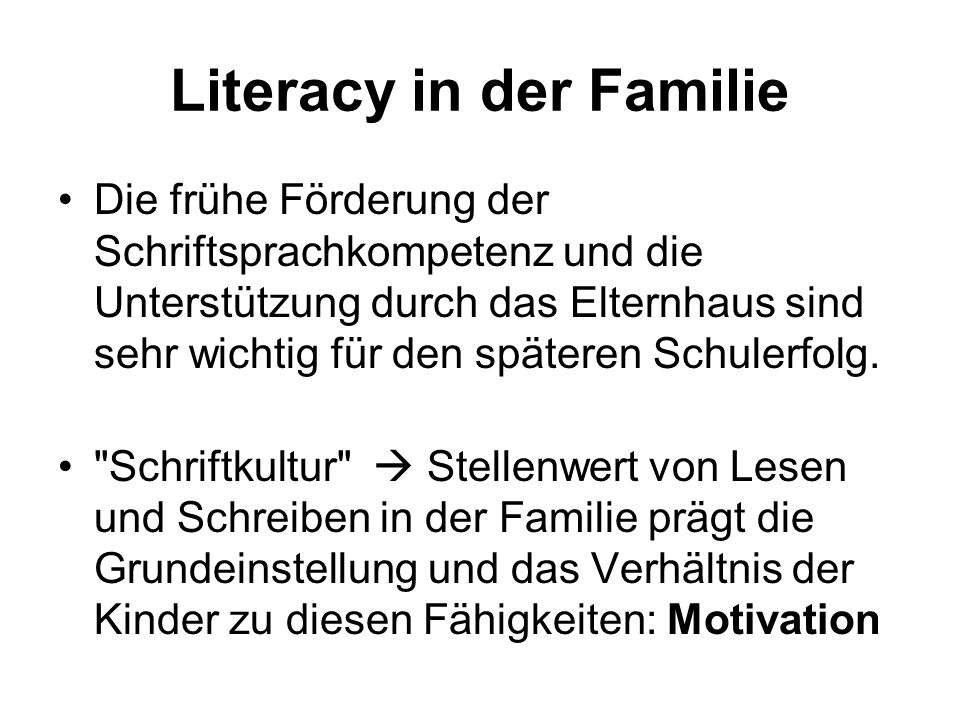 Literacy in der Familie