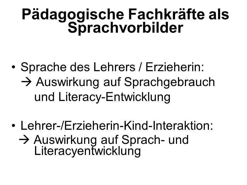 Pädagogische Fachkräfte als Sprachvorbilder