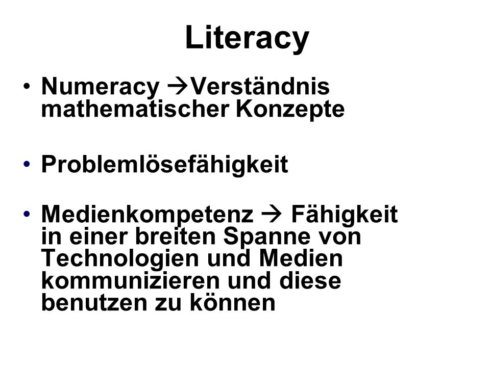 Literacy Numeracy Verständnis mathematischer Konzepte