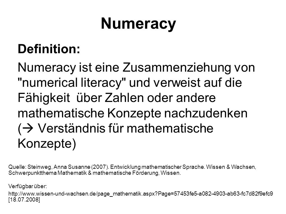 Numeracy Definition: