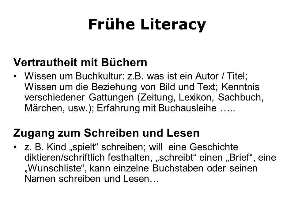 Frühe Literacy Vertrautheit mit Büchern Zugang zum Schreiben und Lesen