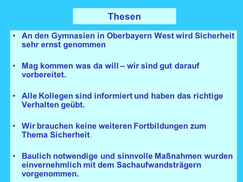 Thesen An den Gymnasien in Oberbayern West wird Sicherheit sehr ernst genommen. Mag kommen was da will – wir sind gut darauf vorbereitet.