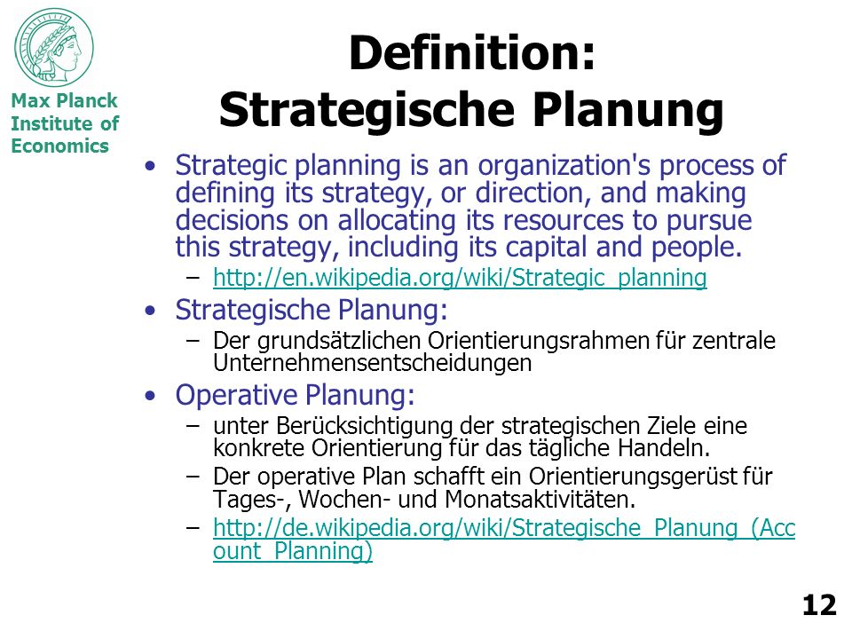 Definition: Strategische Planung