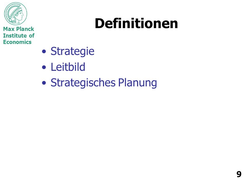 Definitionen Strategie Leitbild Strategisches Planung