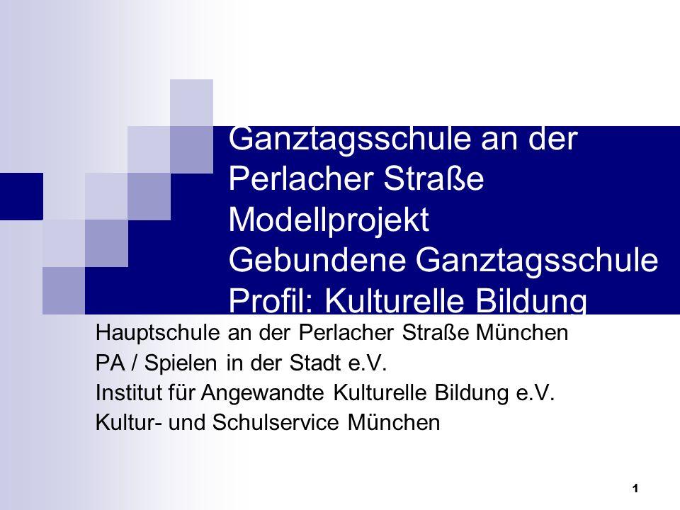 Ganztagsschule an der Perlacher Straße Modellprojekt Gebundene Ganztagsschule Profil: Kulturelle Bildung