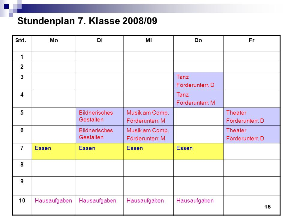 Stundenplan 7. Klasse 2008/09 Std. Mo Di Mi Do Fr 1 2 3 Tanz