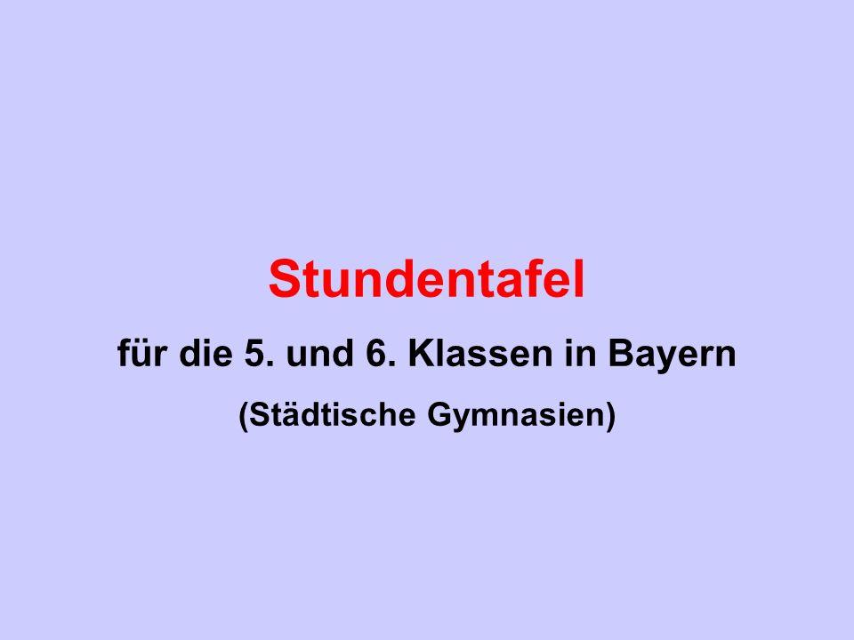für die 5. und 6. Klassen in Bayern (Städtische Gymnasien)