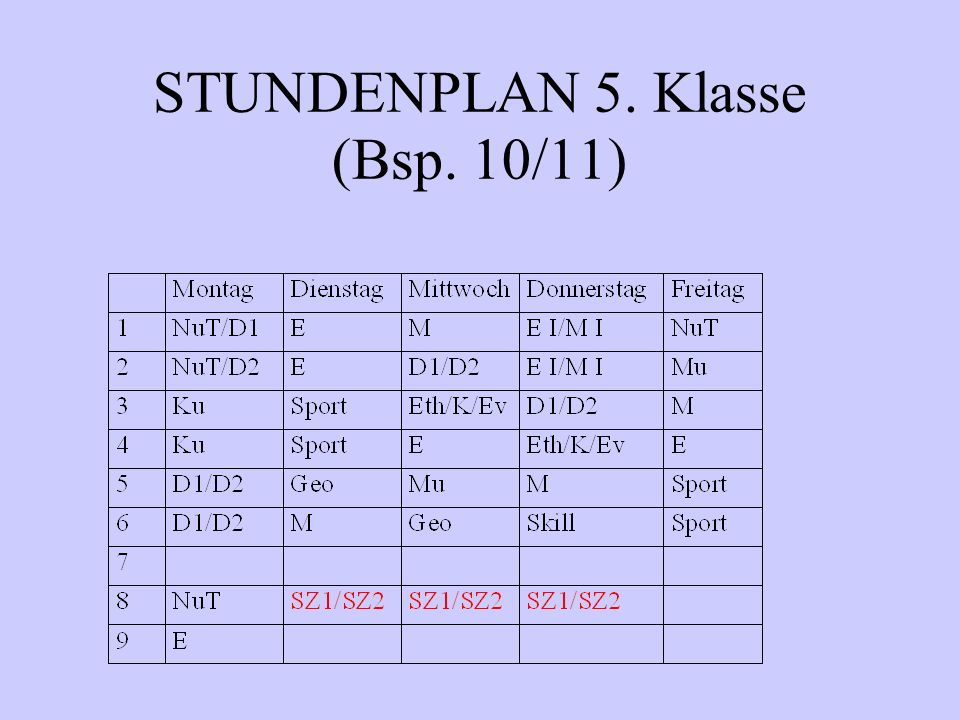 STUNDENPLAN 5. Klasse (Bsp. 10/11)