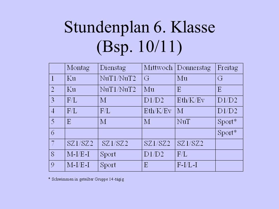 Stundenplan 6. Klasse (Bsp. 10/11)