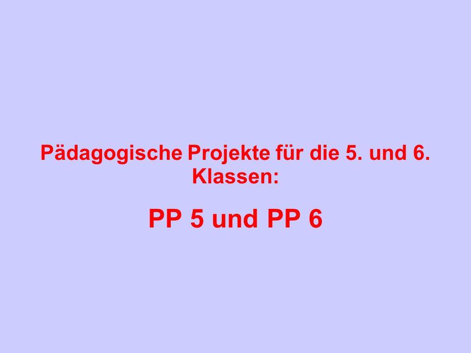 Pädagogische Projekte für die 5. und 6. Klassen: