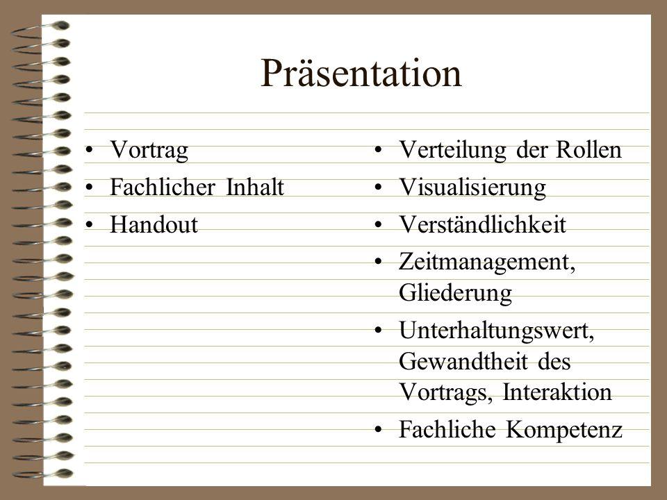 Präsentation Vortrag Fachlicher Inhalt Handout Verteilung der Rollen