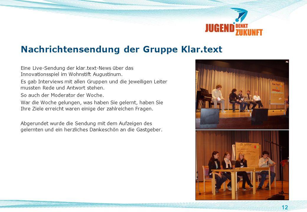 Nachrichtensendung der Gruppe Klar.text
