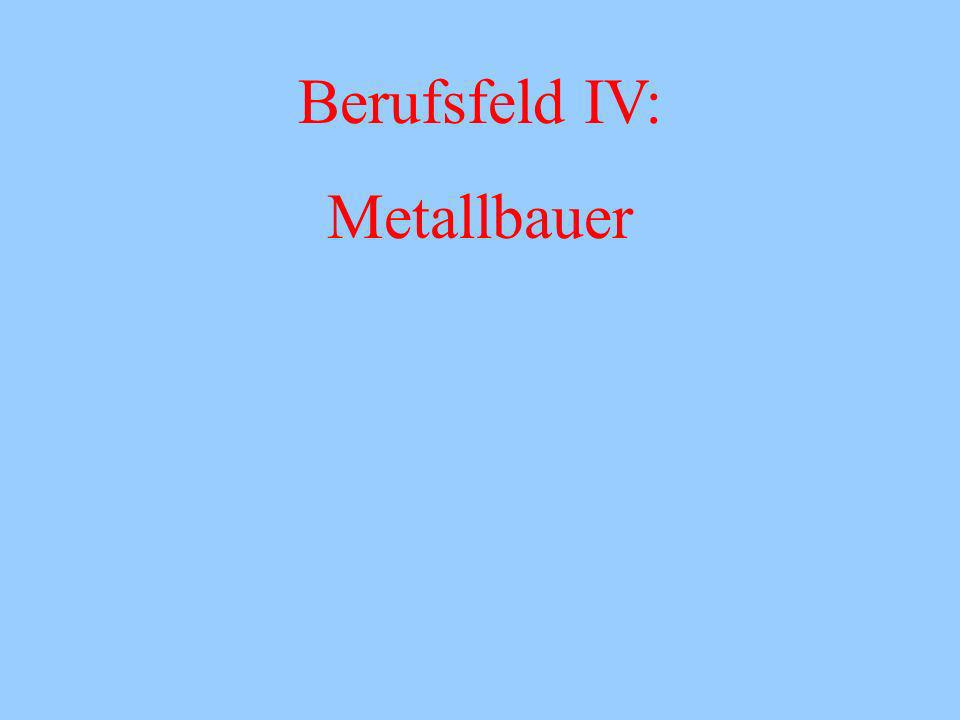 Berufsfeld IV: Metallbauer